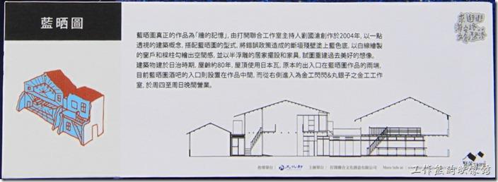 台南-海安路藍晒圖。現在已將有看板說明這些街頭造景藝術了。這麼一來就方便遊客瞭解其緣由了。