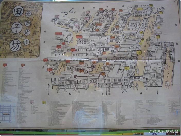 上海-田子坊。「田子坊」的地圖。商店內有賣這地圖。