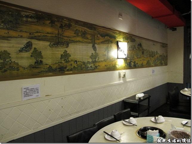 台北-川巴子火鍋樓。牆壁上另外還掛了一幅類似清明上河圖的卷畫。