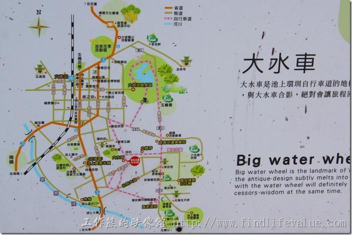 台東縣池上鄉環圳自行車道地圖。