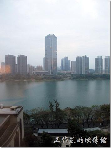 惠州-康帝國際酒店。清晨的東江江面風景。