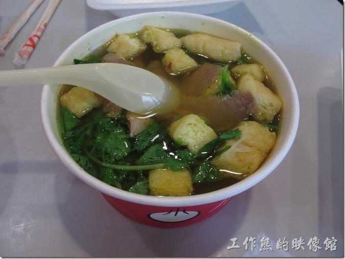 上海小楊生煎。油豆腐牛肉粉絲湯。