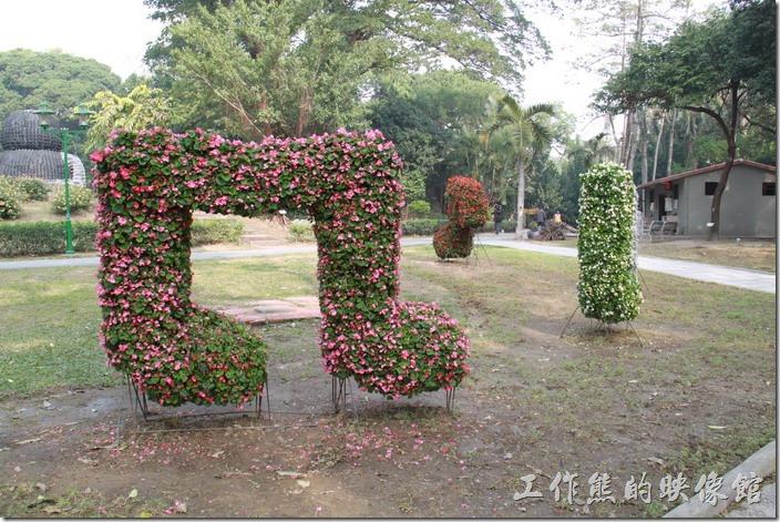 台南-2014中山公園百花祭。音符造型的花卉裝置藝術。