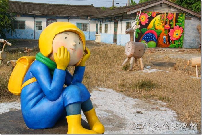 台南-土溝村(幾米)。這就【是幾米幾米與比西里岸的放羊日記】的藝術裝置,其位置原本在竹仔腳139號,現在搬到了竹仔腳140號的空地。