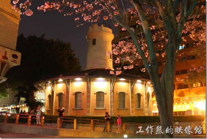 夜晚的「南區氣象站」景象,配合著粉紅風鈴木的盛開,好不熱鬧。