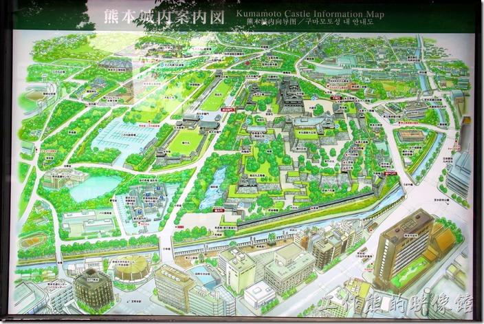 這是熊本城的說明圖,由圖可以大致窺見這熊本城佔地真的很大一片,根據資料說「熊本城」是一座平山城,城池全長5.3公里。我們這次花了半天的時間也才走了一半左右的區域。