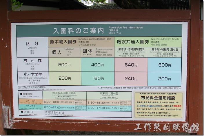 熊本城的入園門票,成人500日圓,中、小學生200日圓。門票可以參觀熊本城內所有的設施,包括大、小天守閣、宇土櫓、本丸御殿...等。