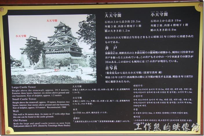 日本北九州-熊本城。還有大小天守閣、井戶的解說看板呢!