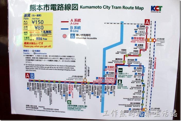日本北九州-熊本電車。熊本的市內鐵軌電車有兩條路線,可以任意搭乘,方式跟台北公車差不多。