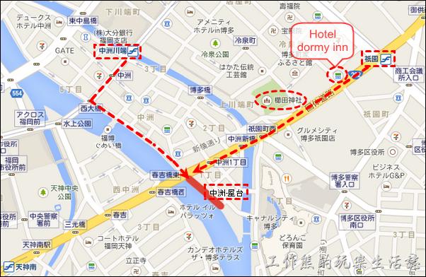 地圖:如何到「九州福岡」中洲屋台、祇園櫛田神社。