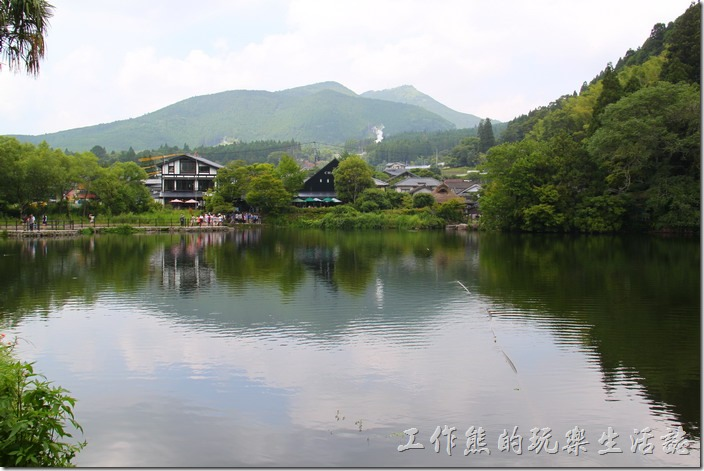 日本北九州-金鱗湖的湖面不大,這個取景大概就已經包含了整個金鱗湖三分之二以上的範圍了。