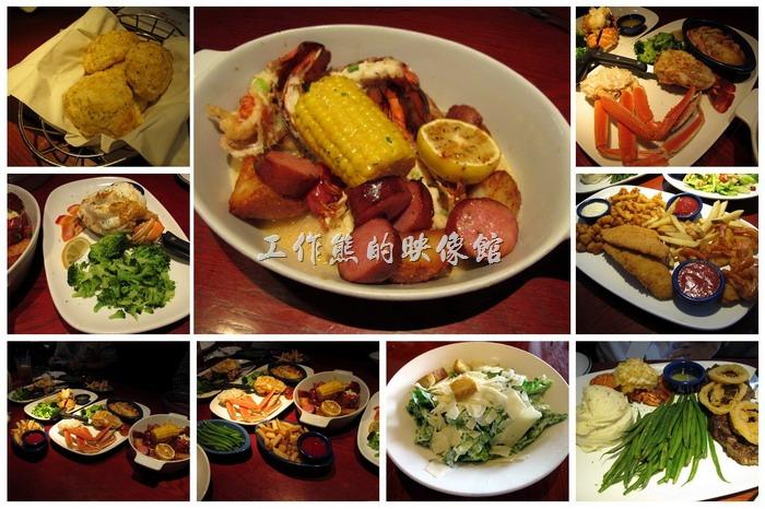 來【RED LOBSTER】可以點一整隻的龍蝦(時價),然後指定要用清蒸或是燒烤來料理,然後再加上一些配菜,懂得料理的客人,還可以交待廚房要如何料理龍蝦。我們這次有四個人,所以點了兩隻【Rock Lobster Tail】岩龍蝦尾,但是選了不同的配菜(side dishes),這岩龍蝦的肉質綿密而且Q彈有嚼勁,真的是不錯吃,老美也愛吃這種,因為全部都是肉,完全不用傷腦筋如何在嘴巴內把骨頭剃除的問題。