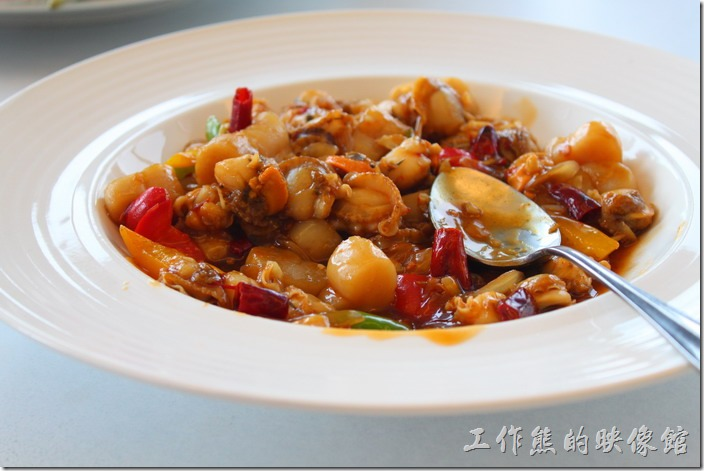 南投日月潭-映涵飯店景觀餐廳。XO醬。這XO醬內有很多的小鮑魚、干貝及辣椒與甜椒,還瞞下飯的一道菜色。