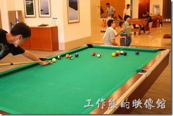 南投日月潭-雲品酒店。桌球及撞球檯各一組。