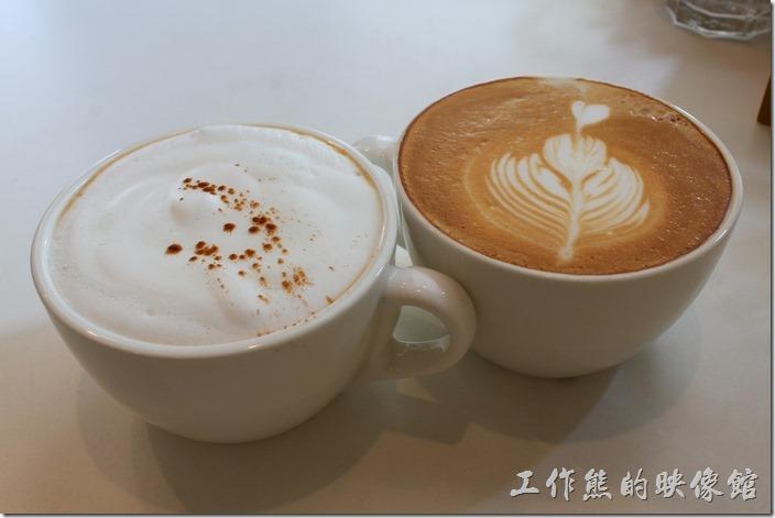 台南-看見咖啡(Vedere)早午餐。熱卡布奇諾與熱拿鐵。
