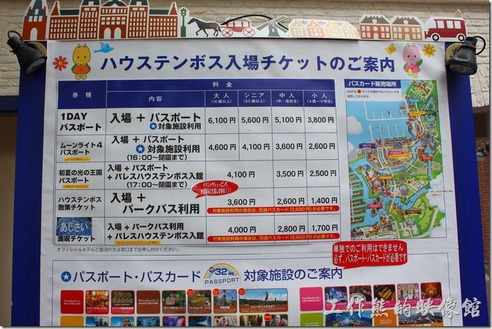 購票窗口上有各種利用卷的價錢,看不懂得就到參考豪斯登堡的官方門票訊息吧!