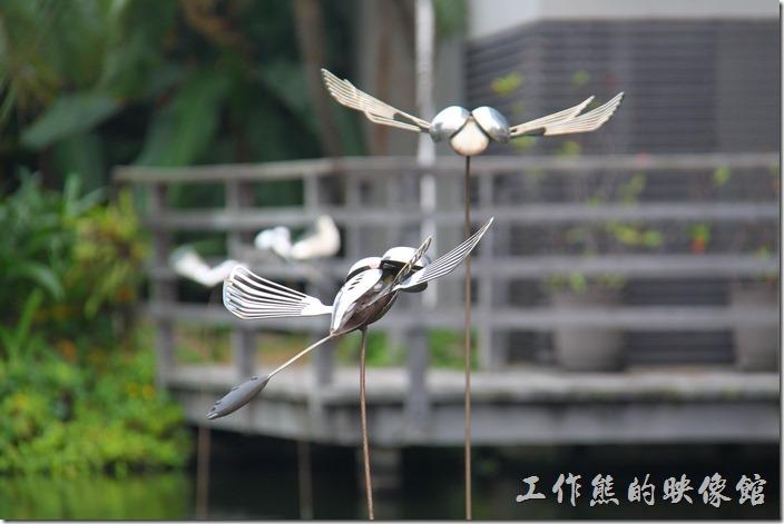 台南-白台南安平-白鷺灣 蜷尾家 經典冰淇淋。白鷺灣社區的門前有個小水池,上面有些蜻蜓飛舞。