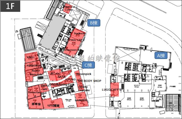 中國信託南港總部一樓店家分佈。