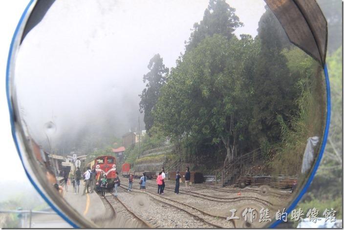 來看火車了,奮起湖的森林火車也是來奮起湖欣賞的重點,而且還是蒸氣火車頭。