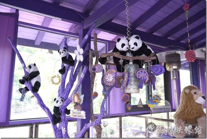 南投清境-瑪格麗特花園餐廳。一、二樓的樓梯間有好多熊貓掛在樹上。