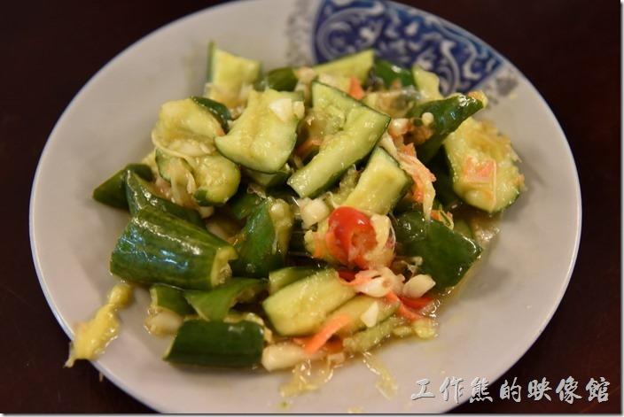 南投-胡國雄古早麵。涼拌黃瓜,NT30。有點泡菜的作法,爽脆的口感,加點辣椒及蒜頭提味。