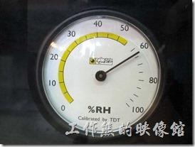 收藏家電子防潮箱V-02。防潮箱剛插電開始運轉的濕度。