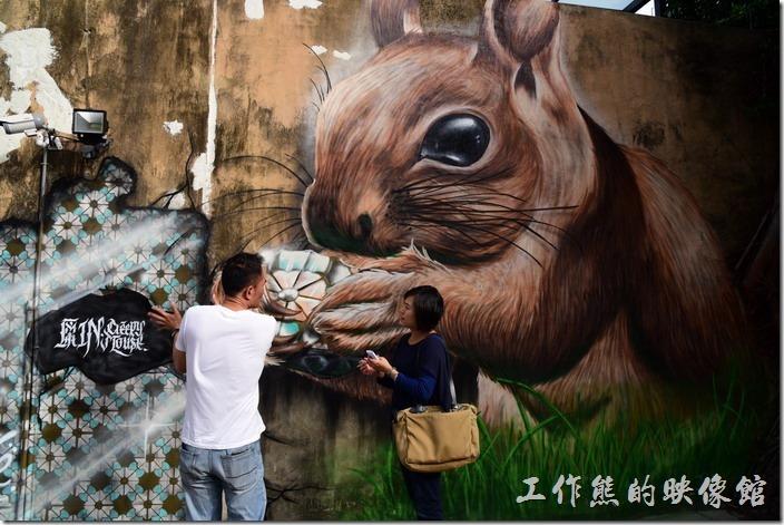 台南-藍晒圖文創園區。在靠近國華街的牆壁上還有多面的巨型彩繪。