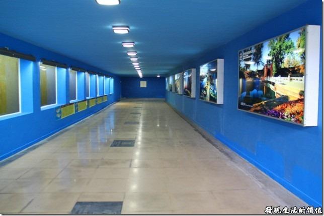 台南-運河博物館。另外,在台南運河博物館前面的「安億橋」下有個地下道。注意看,地下到還特異設計了透明的玻璃窗,讓行人可以欣賞安億橋下運河的生態,有興趣的話稍微駐足,還可以看到一些魚蝦活動的情景。