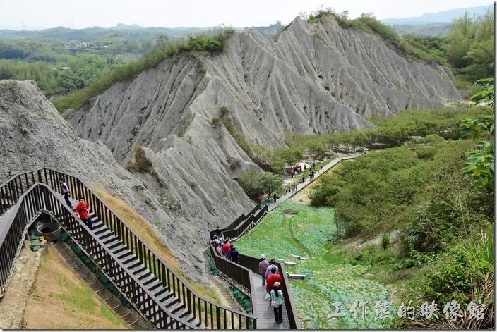 高雄田寮月世界地景公園。從天梯上頭的景觀台附看這片惡地形,還蠻漂亮的。