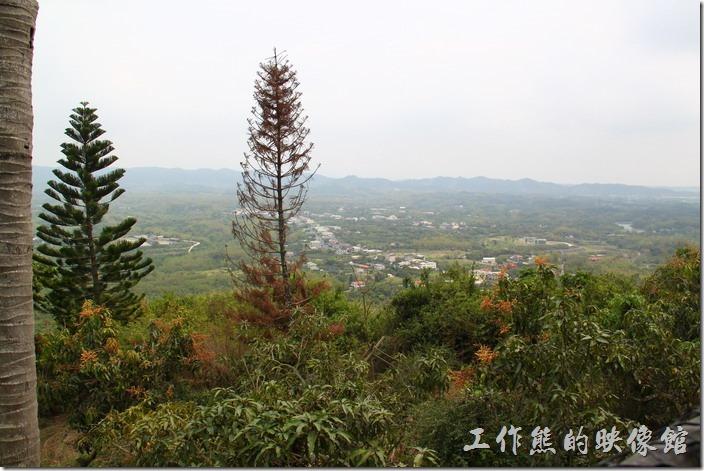 高雄田寮-礦區陳甚土雞城。從這裡往下望可以眺望鄰近的大地,但似乎只有一大片的果園,與稀稀疏疏的房子。