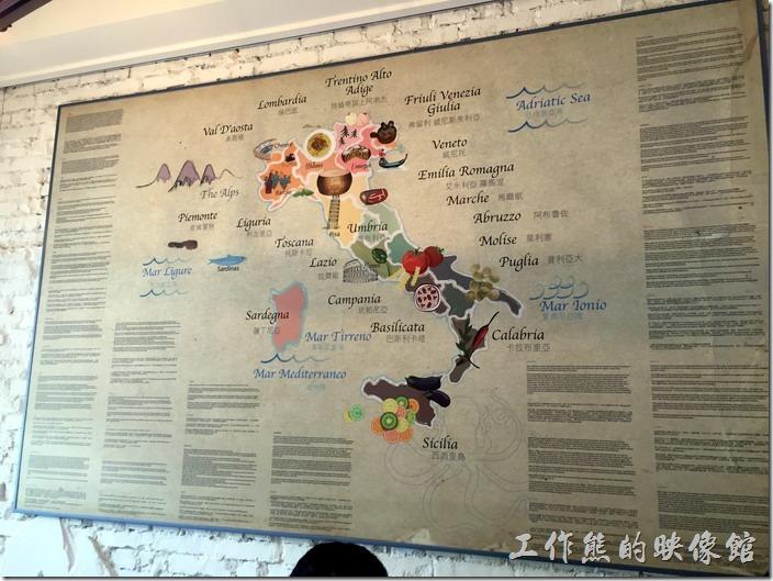 台北南港-issace義式料理廚房餐廳內的牆壁上的義大利美食分佈地圖。
