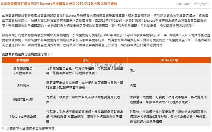 這是台灣高鐵網站自2016年7月1日開始收取使用T EXPRESS手機退票手續費的公告。