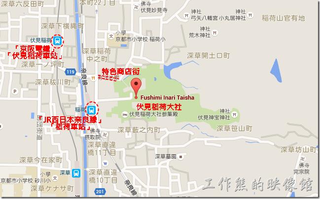 伏見稻荷大社與附近鐵路車站的地圖。