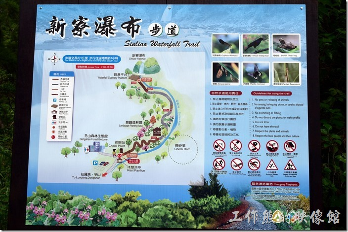 新寮瀑布親水步道入口處有個步道的路線及生態說明大看板。