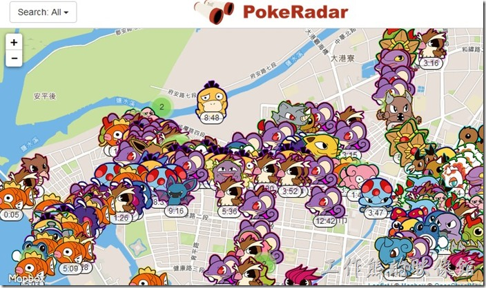 這是使用【PokeRadar】網頁版在台南運河旁的神奇寶貝出現的盛況,幾乎所有的神奇寶貝都聚集在運河旁。