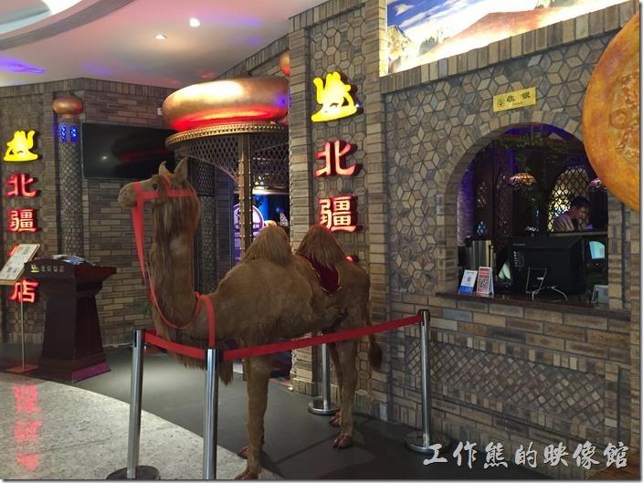 這間昆山的「北疆飯店」位於金鷹廣場七樓,外面有一隻雙峰駱駝裝置藝術,前面還擺了許多的水果可以免費品嚐。