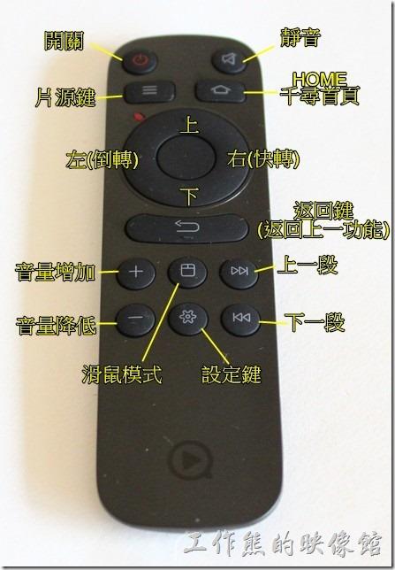 這個是【千尋盒子3】的遙控器,看影片的時候以按左右按鍵來前進倒退影片,還蠻方便了,另外還有一個滑鼠模式按鈕,按下之後可以用上下左右按鍵來移動游標。