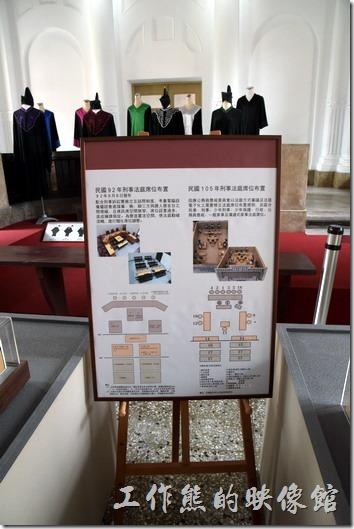 台南-舊地方法院。法庭陳列室,展示法庭的演進與法庭上的人員穿著。