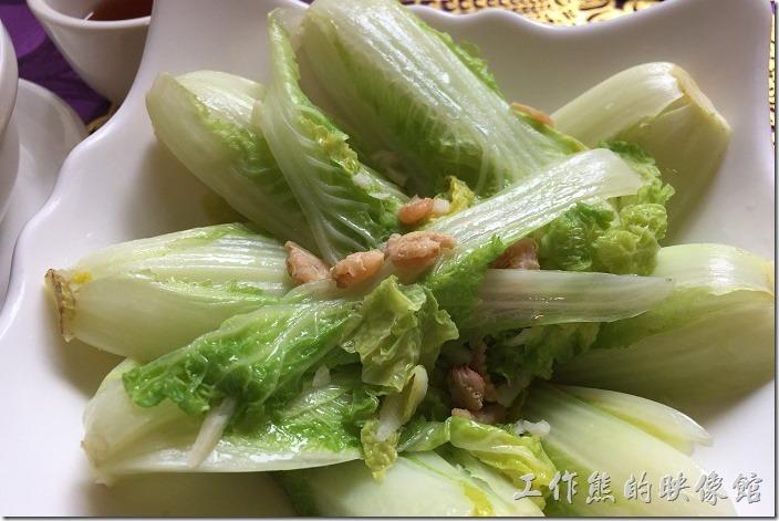 台南-牡丹庭(漢風料理)。娃娃菜,這娃娃菜青燙之後灑上蝦米,娃娃菜其實只要新鮮就好吃。