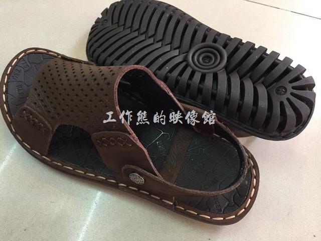 台南安平-駿益製鞋行。這雙是工作熊這次買的涼拖鞋,一雙NT1280,穿起來感覺不錯,鞋底有防滑膠體設計。