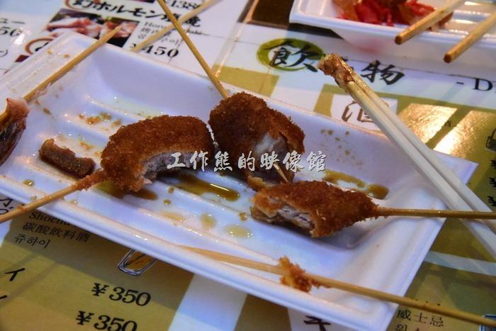 接著吃其他的口味,除了蝦子給工作熊吃完與蓮藕被老婆吃完之外,其他大部分都沒啃完,真的有夠慘。