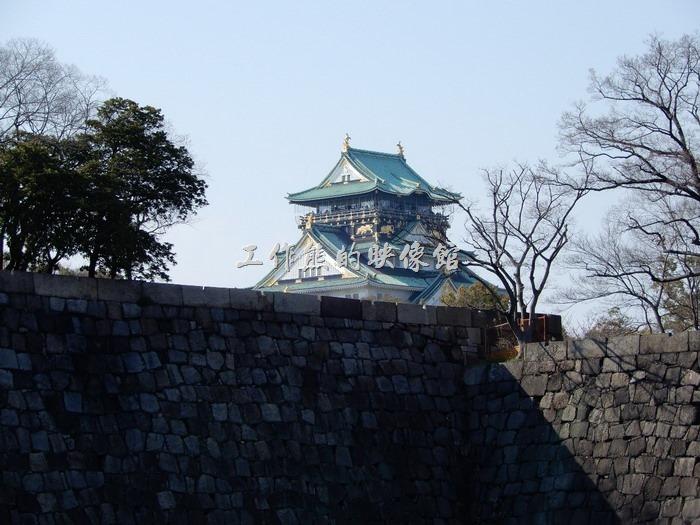 日本-大阪公園。大阪城の石垣!天守閣も見えます!