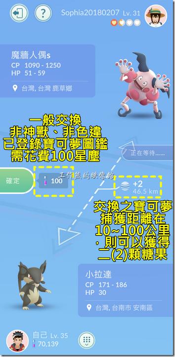 寶可夢一般交換:非神獸、非色違、已登錄寶可夢圖鑑,需花費100星塵