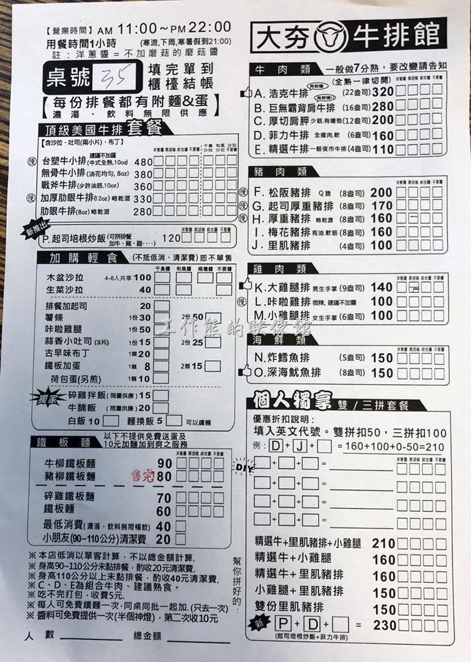台南-大夯牛排菜單02