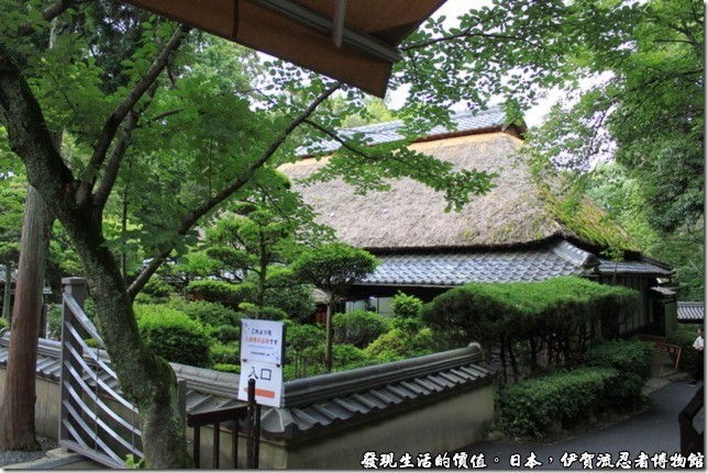 日本伊賀流忍者博物館,這就是伊賀流忍者博物館的建築,傳統的稻草屋頂,黑色的屋瓦。