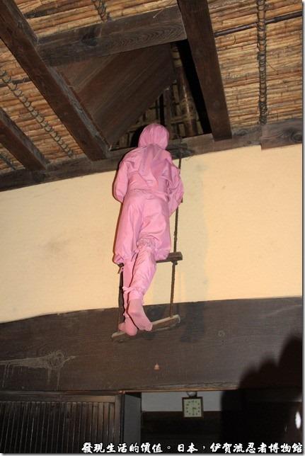日本伊賀流忍者博物館,從屋頂上落下了一個忍者。