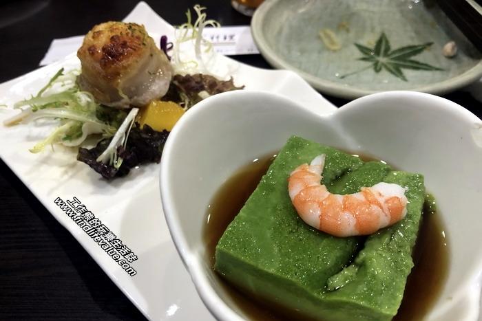 台南銀座日本料理餐廳。抹茶豆腐佐干貝時蔬