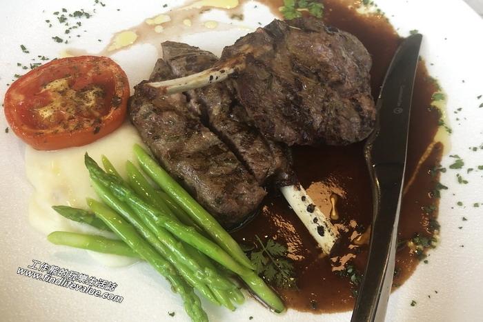 台南隱糧義大利餐飲館。 小茴香風味煎烤羊肩排,NT500。