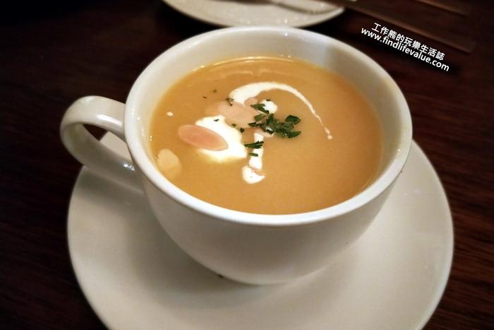 「索緹餐酒館」。南瓜玉米濃湯。